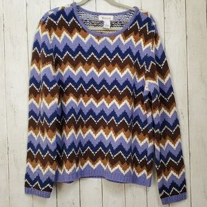 New! Vintage Sweater XL Chevron Pullover Cozy NWOT